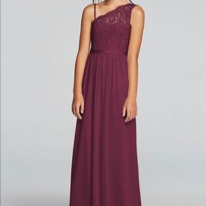 Youth Girl One Shoulder Long Lace Dress (Wine)